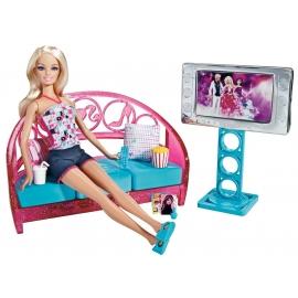 Barbie Furniture and doll tv set